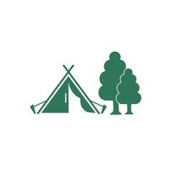 Tent and tree vector