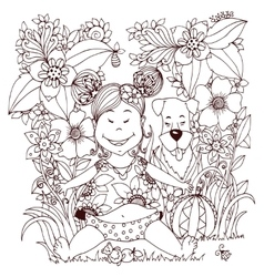 Zen tangle baby little girl vector
