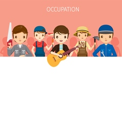 Men with different occupations set on banner vector