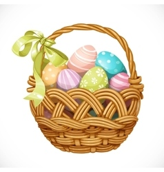 Basket with color Easter eggs isolated on a white vector image vector image