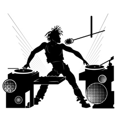 Black silhouette of a dj at a party vector