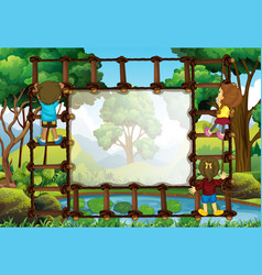 Border template with kids climbing ladder vector
