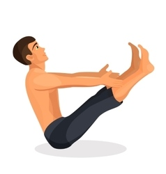 Boy practising yoga navasana pose holding his vector