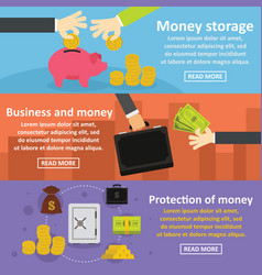 Business money banner horizonatal set flat style vector