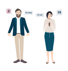businessman man and woman has no money bankrupt vector image