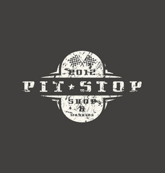 car pit stop badge with shabby texture vector image vector image