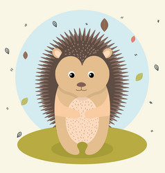 Cartoon hedgehog wild animal with falling leaves vector