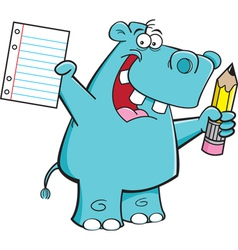 Cartoon Hippo Student vector image vector image