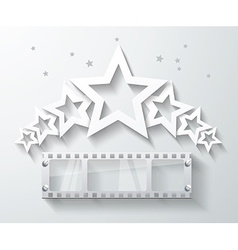 Cinema banner with white paper stars and film tape vector