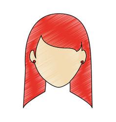 Color pencil faceless front view woman with vector