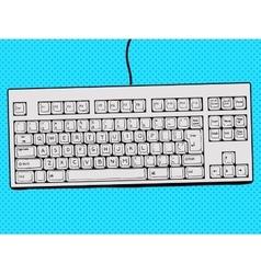 Computer keyboard hand drawn pop art style vector