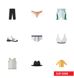 Flat icon garment set of banyan singlet sneakers vector