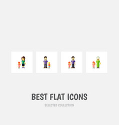 flat icon people set of son father grandchild vector image