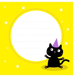 Frame with cute cartoon black cat birthday hat vector