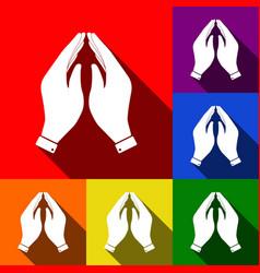 Hand icon prayer symbol set vector
