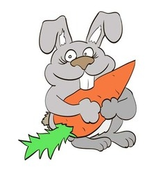 happy bunny holding in the paws of a large carrot vector image