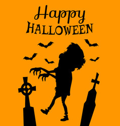 happy halloween poster with zombie silhouette vector image