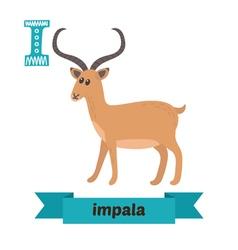 Impala i letter cute children animal alphabet in vector