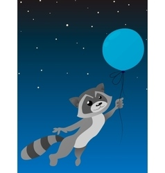 Isolated cute raccoon with balloon on a dark blue vector image vector image