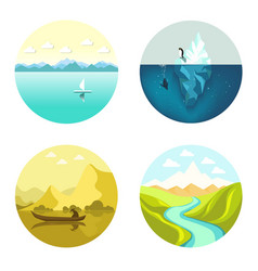 landscape icons flat set isolated on white vector image vector image