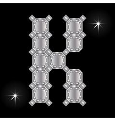 Metal letter k gemstone geometric shapes vector