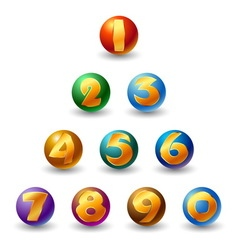 Numbers on glossy ball vector