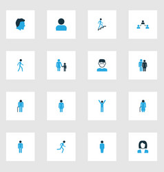 Person colorful icons set collection of head vector