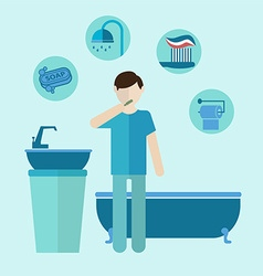 Personal care teeth care colored bathroom flat vector