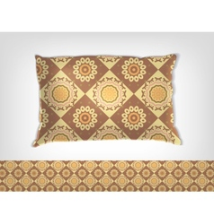Pillow with indian pattern mockup vector