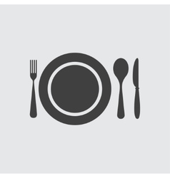 Plate spoon knife and fork icon vector image