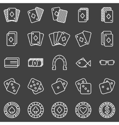 Poker or casino icons set on black background vector