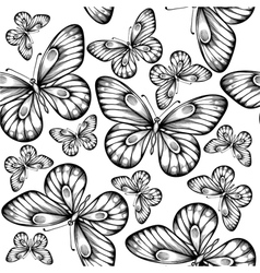 seamless background of butterflies black and white vector image vector image