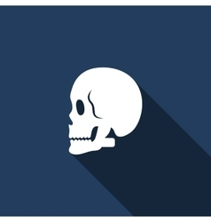 Skull icon with long shadow vector image