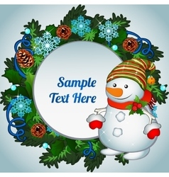 Snowman and Christmas wreath with space for text vector image vector image