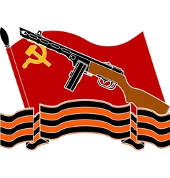 soviet flag machine gun and georgievsky ribbon vector image vector image