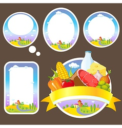 stickers and labels with landscape vector image