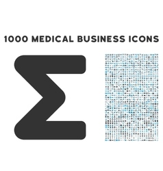 Sum icon with 1000 medical business pictograms vector
