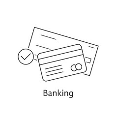Thin line bank check and credit card vector
