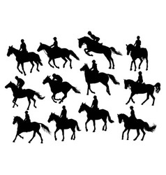Set horse rider silhouettes vector