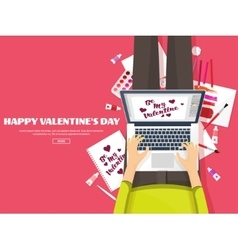 Valentines day workplace with table design vector