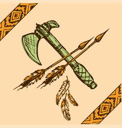 native american indian tomahawks vector image