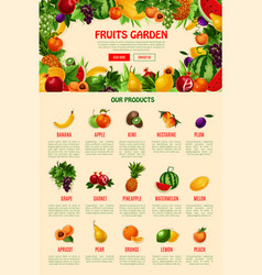 Landing web page template for fruit shop vector