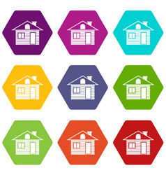 Wooden log house icon set color hexahedron vector