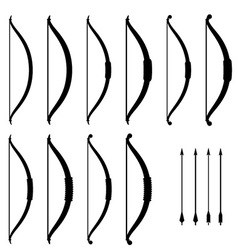 Medieval bow weapon black symbols vector