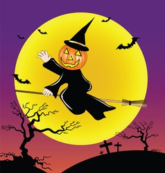 Pumpkin head ride the broom vector