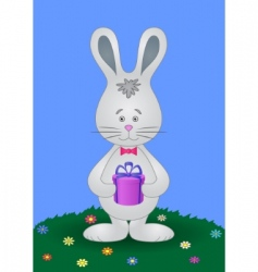 Rabbit with gift vector