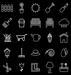 Gardening line icons on black background vector