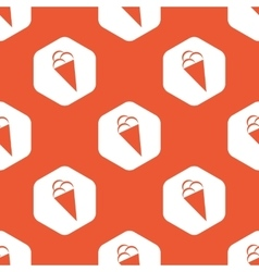Orange hexagon ice cream pattern vector