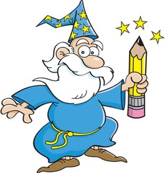Cartoon of a wizard waving a pencil vector