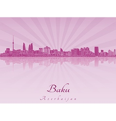 Baku skyline in purple radiant orchid vector